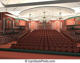 audiência, luxo, corredor