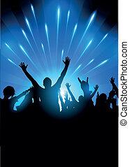 audiência, vetorial, concerto