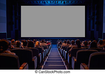 audience., avskärma, tom, bio