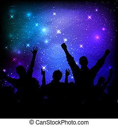 audience, ciel, galaxie, fond, nuit