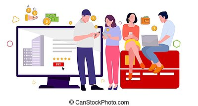 Audience click buy ecommerce advertising on website and owner social media platform website search engine receive payments from advertisers.