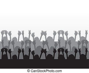 Audience silhouettes cheering at concert