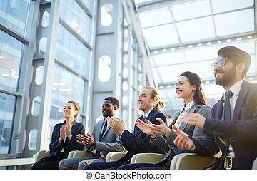 audience, excité, business