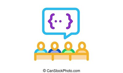 audience expresses an opinion Icon Animation. color audience expresses an opinion animated icon on white background
