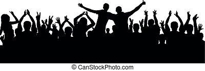 audience, foule, gens, applaudir, silhouette., gai, vecteur