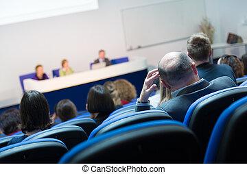 audience, hos, den, konference, hall.