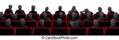 Audience sat in theatre or cinema style chairs