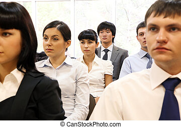 Audience - Image of confident people listening to lecture at...