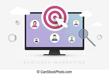 Audience Marketing segmentation. Target market, customer care, human resources recruit and customer analysis concept vector illustration