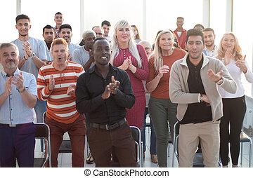 audience, orateur, après, applaudir, présentation, ...