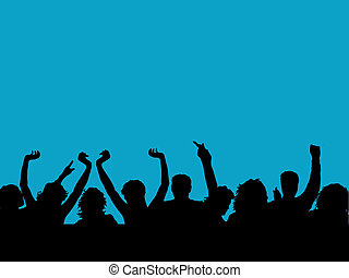 Silhouette of an audience with arms raised