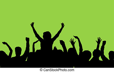 Silhouette of an audience with one person on anothers shoulders