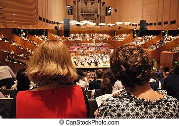 audiences, dans, salle concert