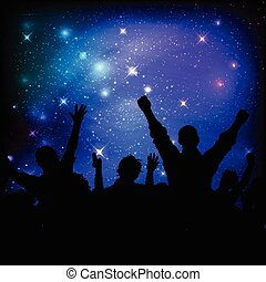 audiencia, en, galaxia, cielo de la noche, plano de fondo, 0208