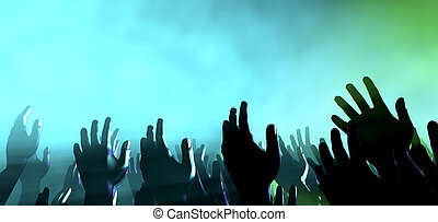 audiencia, manos, y, luces, en, concierto