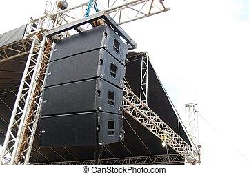 audio, altoparlante, concerto, palcoscenico