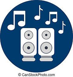 audio, altoparlanti, icona, con, note musica