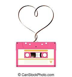 audio analogue, cassette, forme, amour, signe, compact, bande, fond, copie, blanc, magnétique, coeur, rose, couleur, fait, espace illustration