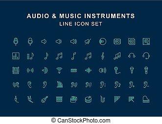 Audio and Instrument Music Line Icon Set