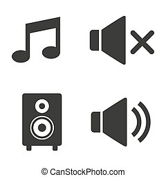Audio and sound icons on white background.