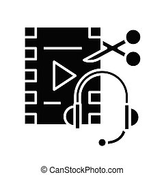 Audio and video editing black icon, concept illustration, vector flat symbol, glyph sign.