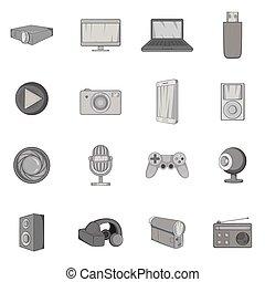 Audio and video icons set, black monochrome style