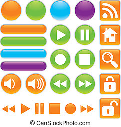 Audio and Video Shiny Buttons - Shiny Vector icon set for...