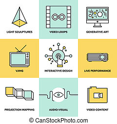 Audio and visual art design flat icons - Audio and creative...