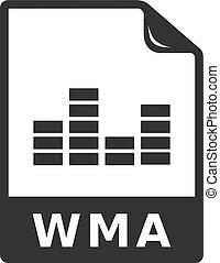 audio, -, bestand, bw, pictogram