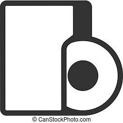 audio, -, bestand, bw, pictogram