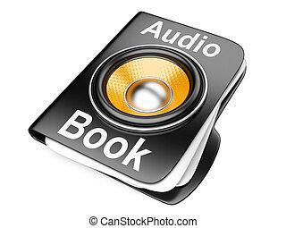 audio-book, concetto, cartella, speaker., 3d