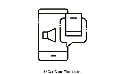 audio book Icon Animation. black audio book animated icon on white background