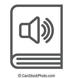 Audio book line icon, e learning and education, e book sign vector graphics, a linear pattern on a white background, eps 10.