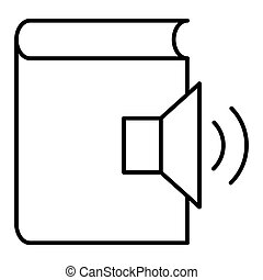 Audio book line vector icon, e learning and education, e book sign vector graphics, a linear pattern on a white background, eps 10.