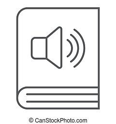 Audio book thin line icon, e learning and education, e book sign vector graphics, a linear pattern on a white background, eps 10.