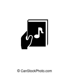 Audio Book with Hand Flat Vector Icon