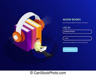 Audio Books Isometric Background - Audio books isometric...