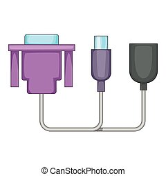 Audio cable icon, cartoon style - Audio cable icon. Cartoon...