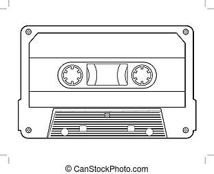 audio cassette - outline illustration of audio cassette,...
