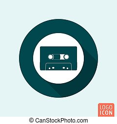 Audio cassette icon isolated