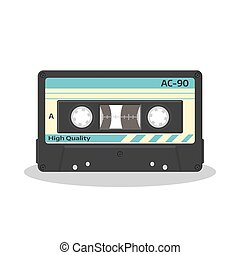 Audio cassette in retro style isolated on a white background. Vintage style music storage icon. Old record player tape.