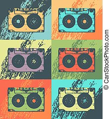 Audio Cassette poster in pop art style. Vector music entertainment background