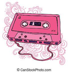 Pink Audio cassette. Oldschool Vector illustration. Retro cassette tape.