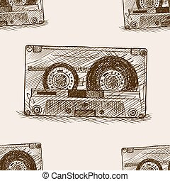 Audio cassette sketch seamless pattern vector