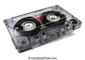 Audio cassette on white background