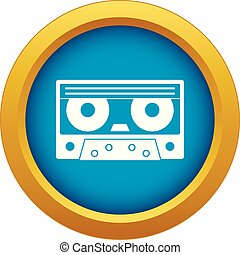 Audio cassette tape icon blue vector isolated