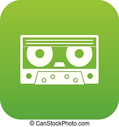 Audio cassette tape icon digital green
