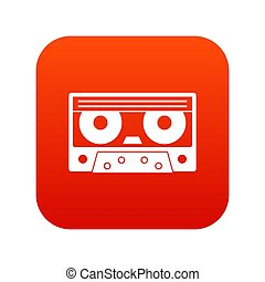 Audio cassette tape icon digital red