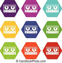 Audio cassette tape icon set color hexahedron