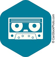 Audio cassette tape icon, simple style